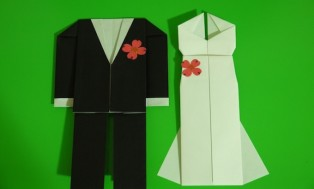 I will make a pair of trendy origami wedding dress and suit for you